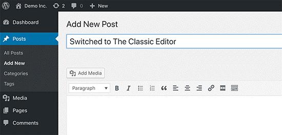 Posso ancora usare il vecchio Editor di WordPress?