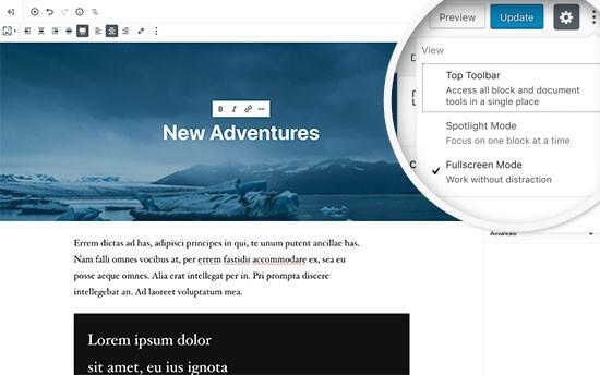 Introduzione a Gutenberg, il nuovo editor Block-Based e il fullscreen mode